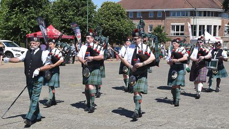 Harpenden Pipe Band performed at the Armed Forces Day celebrations in Letchworth on Saturday. Pictur