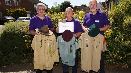 Scout Association Heritage Service volunteers Gerry Pope, Bill Mapletoft and Dave Bridges with some