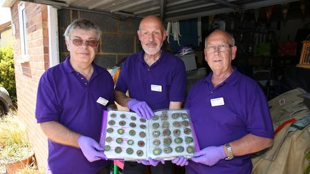 Scout Association Heritage Service volunteers Gerry Pope, Dave Bridges and Bill Mapletoft with a sel