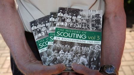 The three volumes of the History of Scouting in Biggleswade written by local Scout Association Herit