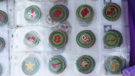 Scout badges dating from pre-1960's in Gerry Pope's collection of scouting memorabilia. Picture: DAN