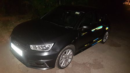 The stolen Audi that was recoved in Shefford after a police chase from the A1(M). Picture: BCH Road