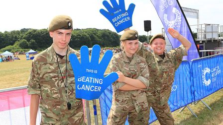 Stevenage Army Cadets marshall the Start- Finish line in the Stevenage Race for Life 2018. Picture: