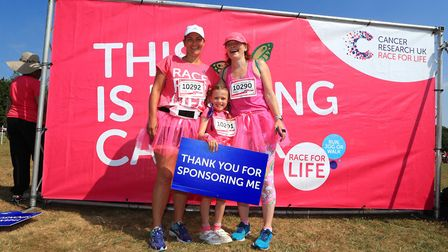 Claire, Skye and Willow take part in the Stevenage Race for Life 2018. Picture: KEVIN RICHARDS