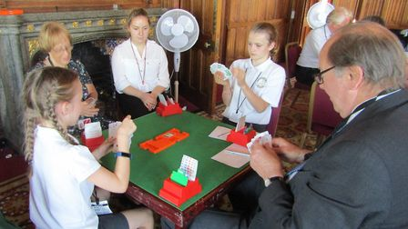Children from Hitchin's Highover School play bridge with peers from the All-Party Parliamentary Grou