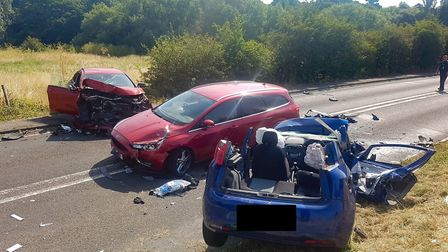 The crash involved three cars. Picture: BCH road policing