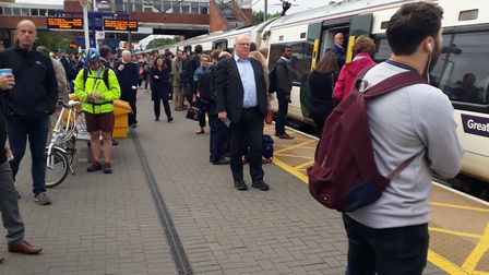 Commuters trying to get on a packed train at Stevenage railway station. Picture: Gordon Cowan