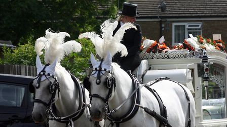Francesca Barrow's horse-drawn hearse ahead of her funeral in Stevenage. Picture: Courtesy of Carmel