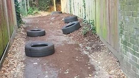 The plants have been pulled up and the tyres overturned, destroying the pupils' project. Picture cou