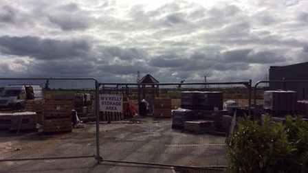 Workers are still completing the Kings Reach play area. Picture: Richard Barrett