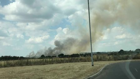 The field fire on the edge of Biggleswade over the weekend. Picture: Mikey Oakes