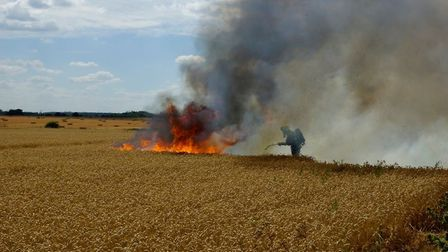 Multiple crews attended two field fires in Roxton. Picture: Beds Fire and Rescure Service