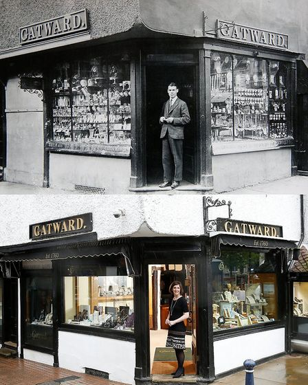 Willson Gatward in the doorway of Gatwards jewellers in Hitchin, c. 1950s, and his granddaughter Cha