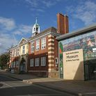 Hitchin Town Hall and the would-be North Hertfordshire Museum entrance at 14/15 Brand Street. Pictur