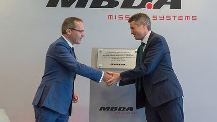 MBDA UK managing director Chris Allam with Defence Secretary Gavin Williamson at the firm's Bolton s