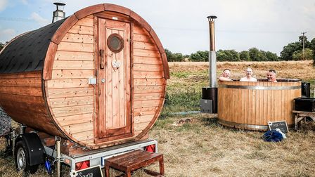 Sauna and hot/cold tubs at Standon Calling Festival 2018. Picture: KEVIN RICHARDS