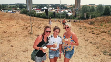 Local festival goers Kelley, Teresa and Ayla at Standon Calling Festival 2018. Picture: KEVIN RICHAR