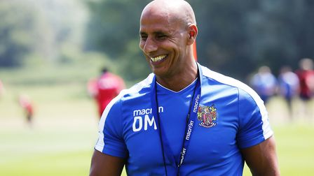 Manager of Stevenage FC Dino Maamria looks to be enjoying himeself on the first day of Stevenage FC