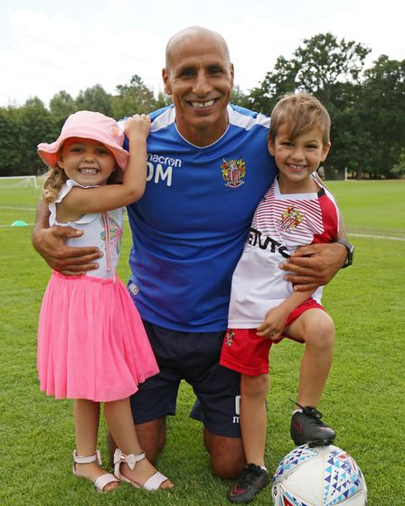 Stevenage FC manager Dino Maamria with his children at the Stevenage FC Open Day 2018. Picture: DANN