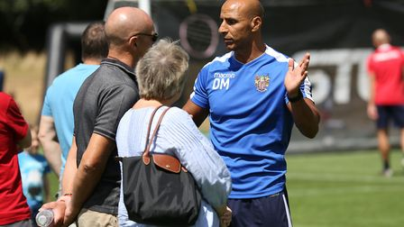 Manager of Stevenage FC Dino Maamria speaks to fans at the Stevenage FC Open Day 2018. Picture: DANN
