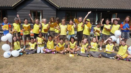 Hitchin's Christchurch Brownies show off their new badge books. Picture: Clare Banham