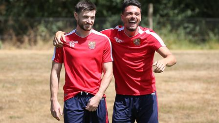 Danny Newton and Ronnie Henry enjoying themselves at the Stevenage FC Open Day 2018. Picture: DANNY