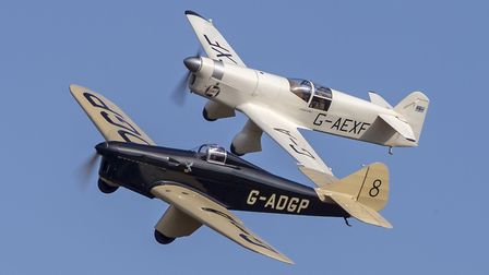 Miles Hawk Speed Six and Percival Mew Gull in formation. Picture: Darren Harbar