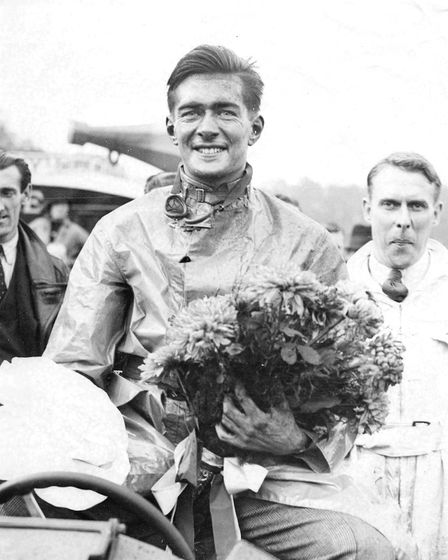 Richard Shuttleworth after winning the Donnington Grand Prix in 1934. Picture: The Shuttleworth Trus