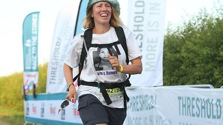 Kate Griffiths, 49, at the end of the Race to the Stones in Avebury. Picture: Dixons Carphone Race t