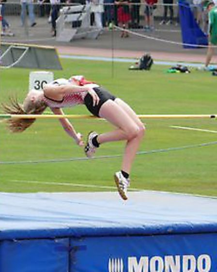 Leonie Brunning in high jump action. Picture: The Brunnings