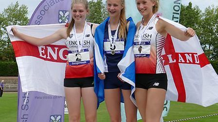 Leonie Brunning (left) on the podium. Picture: The Brunnings