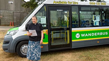 Rev Roni Goodman with the new Wanderbus. Picture: Clive Lester