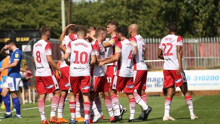 James Ball of Stevenage celebrates scoring in the League Two game between Stevenage FC v Tranmere Ro