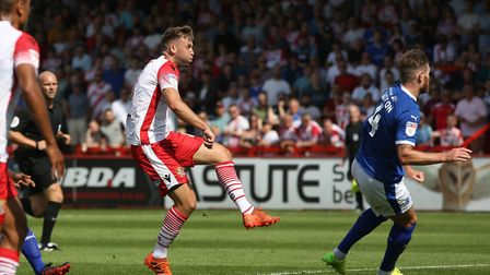 Joel Byrom of Stevenage scores the second goal in the League Two game between Stevenage FC v Tranmer