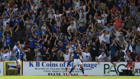 James Norwood of Tranmere Rovers celebrates his equalising goal in the League Two game between Steve