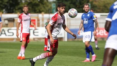 Michael Timlin of Stevenage in the League Two game between Stevenage FC v Tranmere Rovers at the Lam