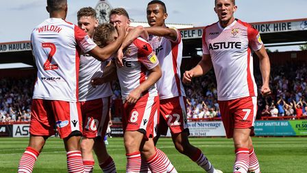 Stevenage players celebrate a goal against Tranmere Rovers. Picture: CALLUM ALLCOCK-GREEN