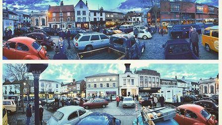 Some of the vehicles at H-Town Classic and Dub Club in Hitchin town centre. Picture: H-Town Classics