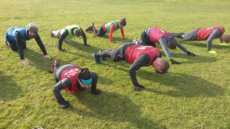 Action during a British Military Fitness session in Stevenage. Picture: Sarah Cooper