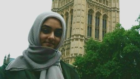 Anam Ahmedi, 16, outside the Houses of Parliament in London. Picture: Waqar Ahmedi