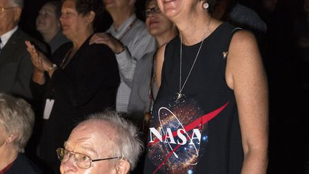 Dr Nicky Fox watches the launch on Sunday with Dr Eugene Parker, after whom the Parker Solar Probe i