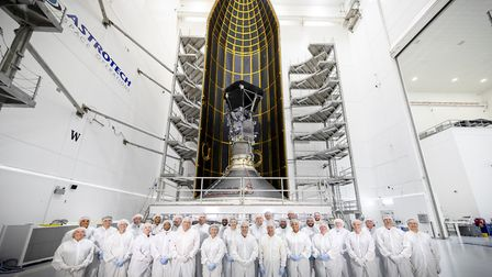 Dr Nicky Fox, just left of centre, and other members of the Parker Solar Probe team. Picture: NASA/J