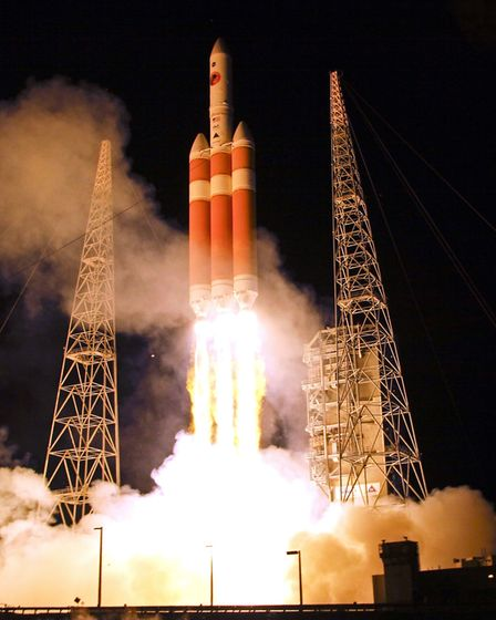 The Delta IV rocket carrying the Parker Solar Probe lifts off from launch complex 37 at the Kennedy