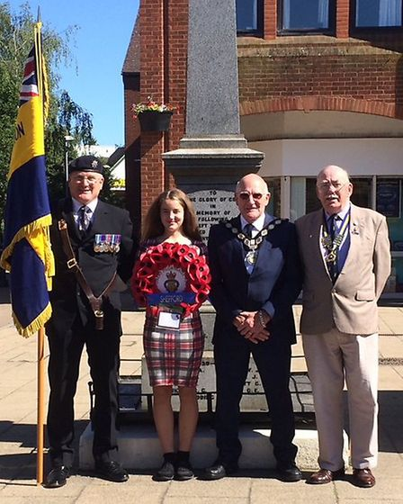 Tom and his daughter Sarah with Shefford mayor Paul Makin (second right) and the branch chairman Bri