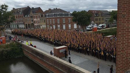 Standard bearers from across the UK gathered at the Menin Gate. Picture: Tom Murphy