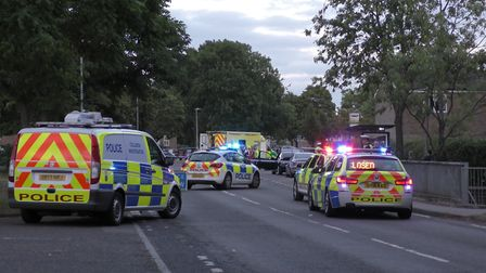 Police and paramedics on the scene in Stevenage after the incident. Picture: David Stuckey