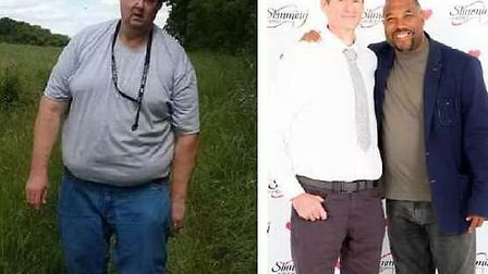Than and now: Trevor Broom from Stevenage has lost almost half his body weight. Pictures: Karen Broo
