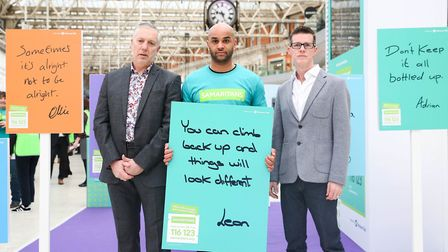 A suicide prevention campaign is launched at London Waterloo station. Photo: Matt Alexander/PA