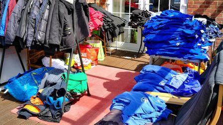 Amy Pugsley opened up her house at the weekend to give away school uniform. Picture: Amy Pugsley