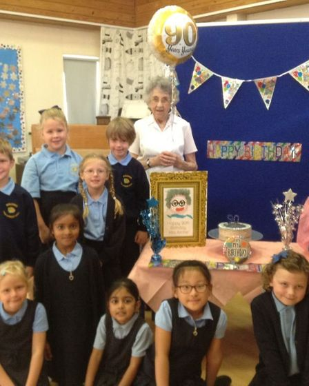 Jean Archer with pupils from Woolenwick Infant and Nursery School. Picture: Christina Anderson.